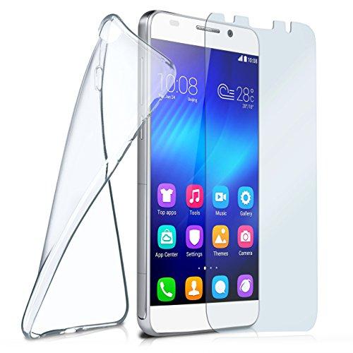 MoEx® Silikon-Hülle für Huawei Honor 6 | + Panzerglas Set [360 Grad] Glas Schutz-Folie mit Back-Cover Transparent Handy-Hülle Honor 6 Hülle Slim Schutzhülle Panzerfolie