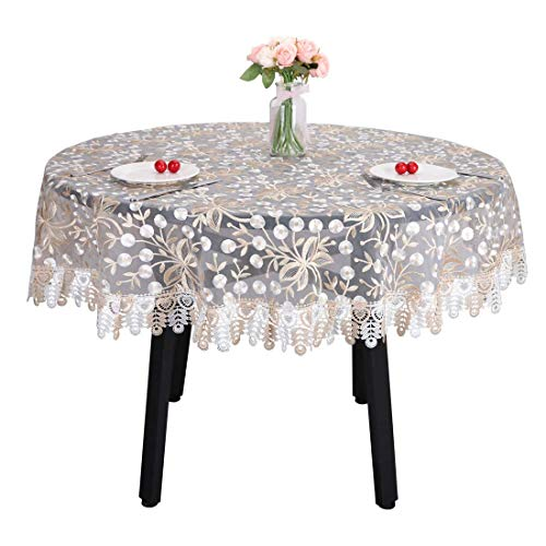 GJBHD Mantel De Encaje Vintage, Bordado Floral Translúcido Borgoña Manze Mantel Decorativo Mesa Cubierta Ideal Parafiesta De Bodas Comida Mesas Auxiliares-Redondo Diámetro150cm(59inch)