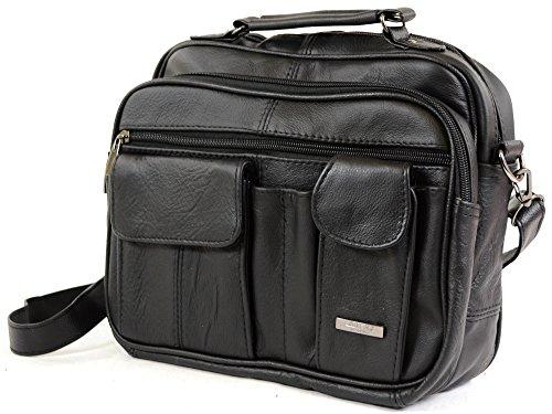 Läderresväska med bärhandtag, avtagbar axelrem och mobiltelefonficka (mörkbrun/svart/brun).