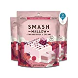 Strawberries & Cream By SmashMallow | Snackable Marshmallows | Non-Gmo | Organic Cane Sugar | 100 Calories | Pack Of 3 (4.5 Oz)