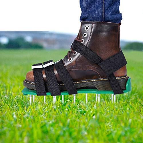 Aireador de Cesped Zapatos, EEIEER Zapatos para Airear el Césped Escarificador Cesped Zapatos Jardín de Césped Spikes Sandalias con 10 Correas Ajustables, para tu Césped, Jardín, Jardinería
