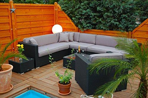 Ragnarök-Möbeldesign PolyRattan Lounge DEUTSCHE Marke - EIGNENE Produktion - 7 Jahre GARANTIE Garten Möbel incl. Glas und Polster (schwarz) Gartenmöbel - 3