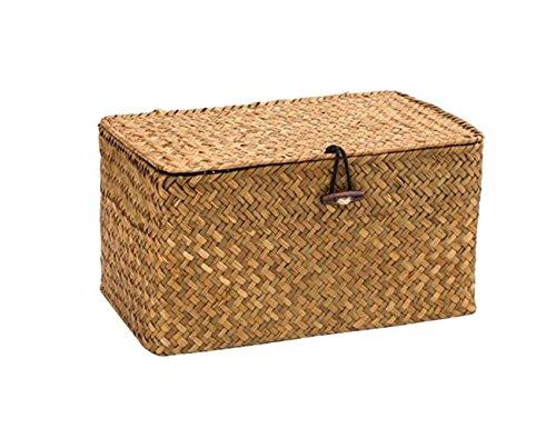 WOOD MEETS COLOR Aufbewahrungsbox Aufbewahrungskiste Dekobox Kosmetik Aufbewahrung mit Deckel Aufbewahrungskörbe aus Natürliche Seagras Praktische ca. 26 × 14.8 × 14.4cm (Original)