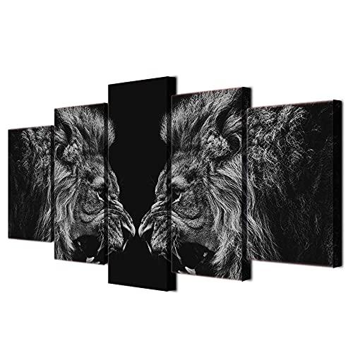 5 paneles León espejo pintura lienzo impresión decoración de la habitación impresión cartel imagen 5 piezas HD lienzo impreso