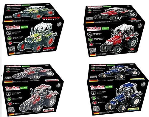 TRONICO Metallbaukasten 4 Traktoren im Set, Freilauf, Micro Serie, Konstruktionsspielzeug Mint STEM Modellbau Bauen mit Werkzeug