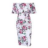 Damen Umstandskleid,Damen Mutterschaft Print Kleid Schulterfrei Casual Maxi-Kleid Mutterschaft Kleid Abendkleider Für Schwangere Sommerkleider Strandkleider Schwangerschaftskleid