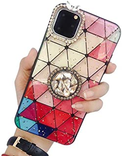 Case for iPhone 11 Pro Max,Aulzaju iPhone 11 Pro Max Ring Stand Holder Case iPhone 11 Pro Max Bling Diamond Cover Cute Grid Fashion Finger Grip Bracket Protective Case for iPhone 11 Pro Max 6.5''-Red