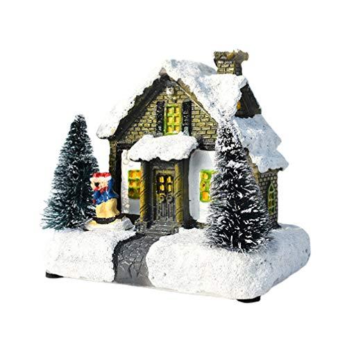 Amosfun iluminar casa de Navidad Tradicional Navidad Nieve Pueblo Iluminado Edificio Mesa de Navidad Centro de Mesa...