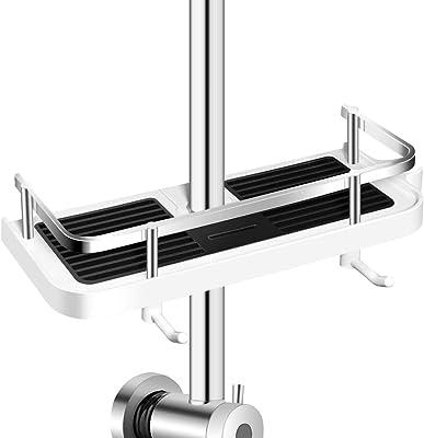 Linkidea Direct シャワーキャディシェルフ スライドバー用 バスルームシャワーラック オーガナイザー スポンジソープホルダー シャンプーソープ用 ステンレススチールガードレール付き 調節可能なシャワーシェルフ 壁掛けフック付き