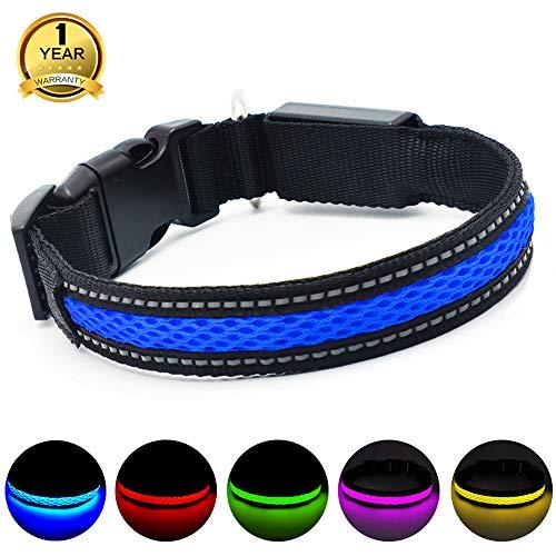 MASBRILL USB hondenhalsband, LED, oplaadbaar, plat, nylon, Webbing, verlicht, knipperlicht, Dog Collar Lights hondenhalsband, LED Light-Up Safety Neck Loop (S, Blauw)