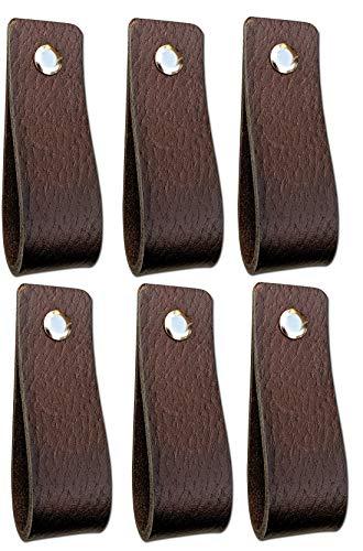Ledergriffe Möbel   Braun - 6 Stück   Ledergriff für Schränke, die Küche und Tür   Inklusive 3 farbigen Schrauben