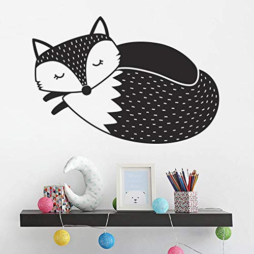 Tianpengyuanshuai Sleepy vos muur sticker vinyl muur sticker kinderkamer decoratie schattig dier behang