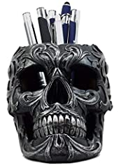 """This Tribal Skull stationery organizer measures 4"""" tall, 4"""" long and 5.75"""" deep approximately. This Tribal Skull stationery organizer is made of designer composite resin, hand painted and polished individually. Whether you are looking for a functiona..."""