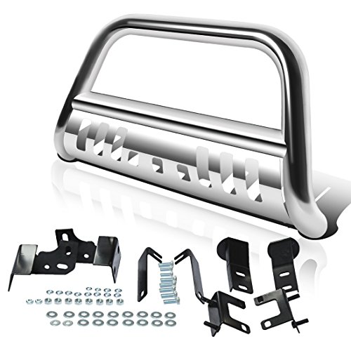 "AUTOSAVER88 3"" Bull Bar Compatible for 09-18 Dodge Ram 1500 with Skid Plate Light Mount Front Bumper Brush Push Grill Guard Stainless Steel Silver"