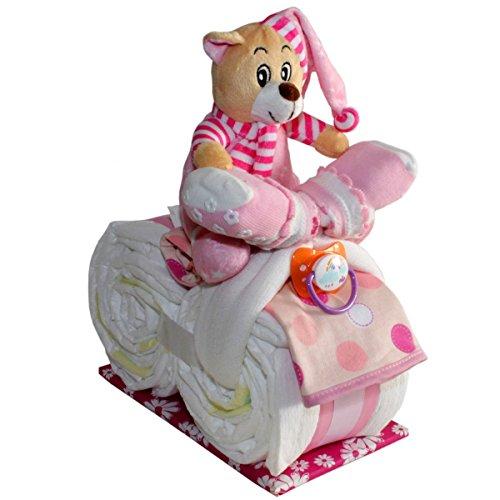 Kleines Windelmotorrad Schlafbärchen Sophia 21tlg. für Mädchen Geschenk zur Geburt Taufe Windeltorte (Rosa)