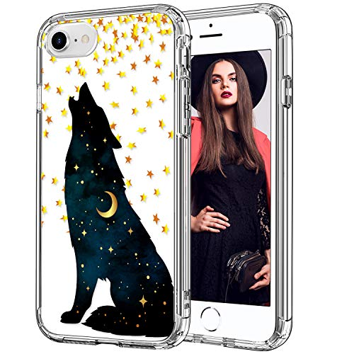 ICEDIO iPhone SE 2020 Case,iPhone 8 Case,iPhone 7 Case with Screen Protector,Clear TPU Cover with Fashion Designs for Girls Women,Shockproof Protective Phone Case for iPhone 7/8/SE 2020 Howling Wolf