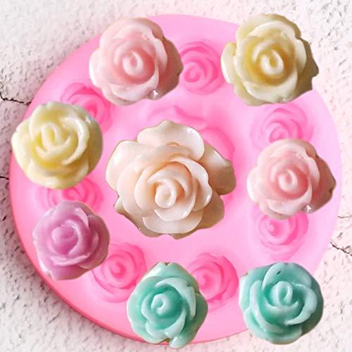CSCZL Moldes de Silicona de Flor Rosa DIY para Hornear Cupcake Topper Weddding Fondant Herramientas de decoración de Pasteles Candy Clay Chocolate Gumpaste Molde