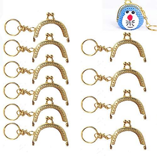 Nuluxi Kiss gesp slot voor portemonnee maken metalen portemonnee frames handgrepen metalen portemonnee tas frame ambachtelijke decoraties halfronde reliëf riem kant ontwerp passen voor uw doe-het-zelf en ambachtelijke projecten-10 stuks goud