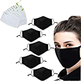 5 Pack Unisex face mask Fashion Stretch Lightweight Cotton mask Covering Face and Mouth Reusable Washable Adjustable 3 Ply With 10PC Filter