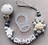 Schöne Schnullerkette mit Namen In Dunkel Grau Ein Süßer Teddy+Stern personalisierte baby geschenk