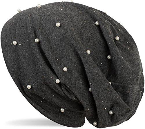 styleBREAKER styleBREAKER Beanie Mütze mit Perlen und Strass Nieten, Slouch Longbeanie, Damen 04024140, Farbe:Dunkelgrau meliert