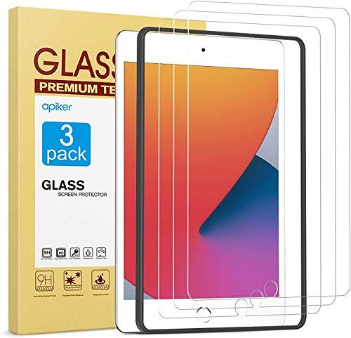 apiker Protector Pantalla Compatible con iPad 8 generacion/iPad 7 generacion,10.2 Cristal Templado sin Burbujas Sensibilidad, [9H Dureza] [Alta Definición](3 Pieza)