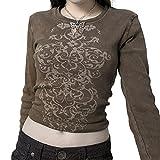 Camiseta de manga larga con estampado floral vintage Y2k para mujer, corte ajustado, blusa de 90s E-Girl Streetwear, marrón, S