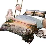 Juego de colchas de 3 piezas con diseño natural, cubierta de cama, puesta de sol en el lago Chudskoy, Estonia, vista de flores de primavera, paisaje, foto, tamaño king, verde, rosa pálido, azul bebé