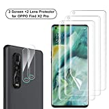 NEWZEROL 3 Stück Bildschirmschutzfolie + 2 Stück Kameraschutz für Oppo Find X2 Pro 5G [Unterstützung für Fingerabdruck-ID] Anti-Blase TPU 3D [Vollabdeckung] Sanft Displayschutz