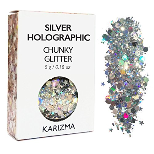Silver Holographic Chunky Glitter ✮ KARIZMA BEAUTY ✮ 10g Festival Glitter Cosmetic Face Body Hair Nails