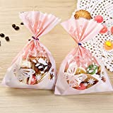100pcs Lovely Butterfly Pink Candy Bags DIY Plastic Bag with Gold Metallic Twist Ties for Cookie Bakery Decorating Bags Biscuit Roasting Treat Gift