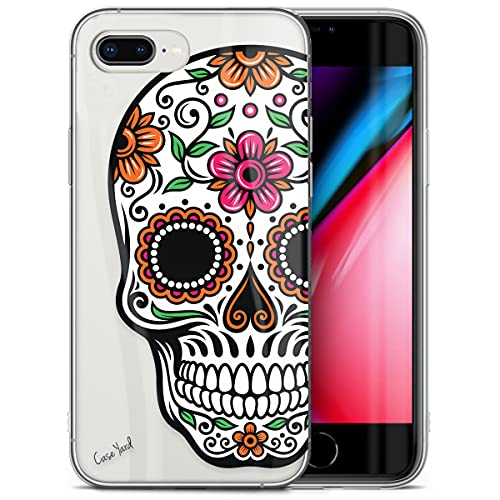 CaseYard Clear Soft & Flexible TPU Case for iPhone 8 Plus - Ultra Low Profile Slim Fit Thin Shockproof Transparent Bumper Protective Cover Drop Protective Case (Sugar Skull)