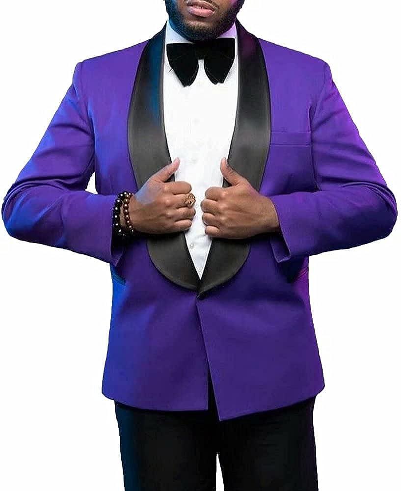 YiMinpwp Men Suits Shawl Lapel One Button Wedding Tuxedos Suits for Men 2 Piece Jacket+Pant