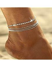 Zoestar Tobillera de cristal de estilo bohemio, con diamantes de imitación plateados, cadena de cuentas para mujeres y niñas