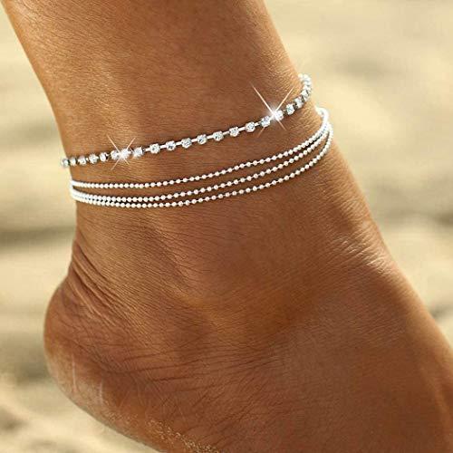 Zoestar, Cavigliera in argento a più fili con diamanti sintetici e perline rotonde, per...