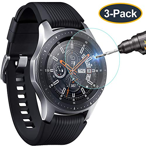 KIMILAR Compatible with Gear S3 & Samsung Galaxy Watch 46mm Screen Protector, Waterproof Tempered Glass Cover for Gear S3 / Galaxy Watch 46mm Smartwatch Crystal Clear Scratch Resist[3-Pack]