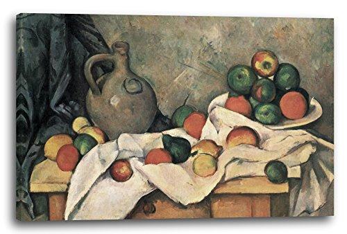 Printed Paintings Leinwand (60x40cm): Paul Cézanne - Stillleben mit Vorhang, Krug und Obstschale