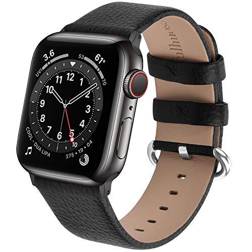 Fullmosa kompatibel mit Apple Watch Armband 44mm 42mm, Lederband Ersatzband für Frauen Männer, Klassische Leder Armband für iWatch Series 6/SE/Series 5/4/3/2/1