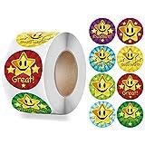 good job stickers for kids - 500pcs 1 Inch Star Reward Stickers Roll,Teacher Reward Motivational Sticker for Children Student,Self-Adhesive Labels Stickers with 8 Design for Teacher Parents Classroom School