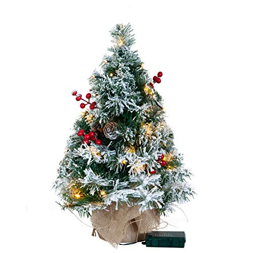 Joiedomi 22' Snow Flocked Prelit Tabletop Christmas Tree for Best Christmas Home Decorations (Battery Operated)