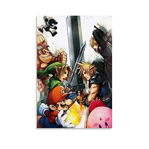 Super Smash Bros Link Mario Kirby Cloud Donkey Kong Leinwand-Kunst-Poster und Wandkunstdruck, modernes Familienschlafzimmerdekor, 60 x 90 cm