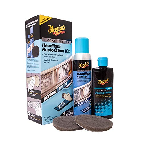 Meguiar's Two-Step Car Headlight Restoration Kit with Headlight Cleaner and Headlight Protectant