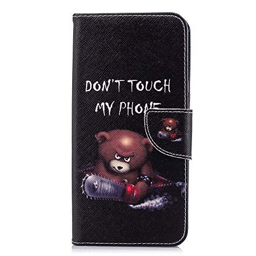 CoverKingz Handytasche für LG Q Stylus Handyhülle, Flip Case Cover, Schutzhülle mit Kartenfach, Handy Hülle Motiv Don´t Touch My Phone Bär Schwarz