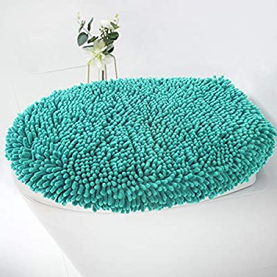 MAYSHINE Seat Cloud Bath Washable Shaggy Microfiber Standard Toilet Lid Covers for Bathroom -Turquoise
