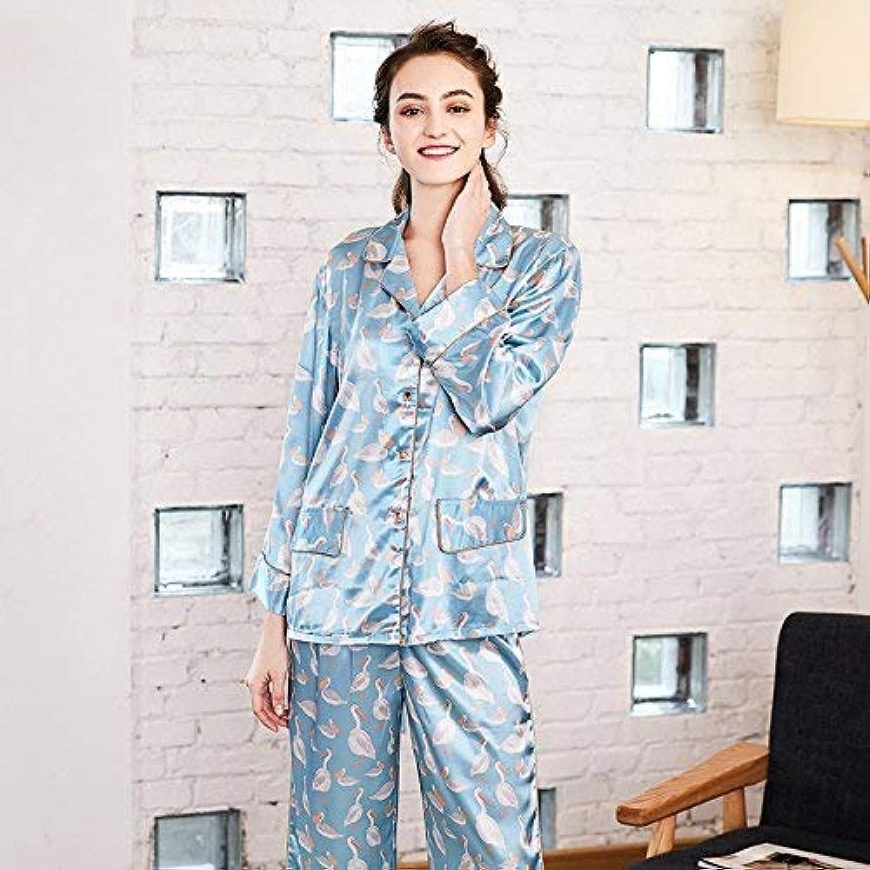 Cute Pajamas Simulation Silk Ladies Home Service Printed LongSleeved Trousers TwoPiece Pajamas (Size   L) Sexy Sleepwear (Size   Large)