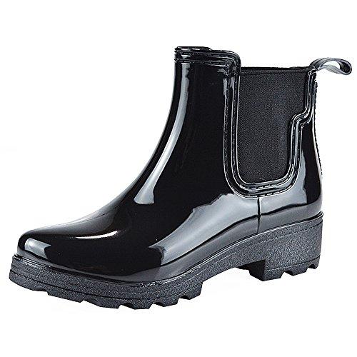 Jamron Donna Elegante Chelsea Stivali Pioggia Neve Alta Caviglia Tacco Grossoi Stivali di Gomma Nero SN02002 EU39