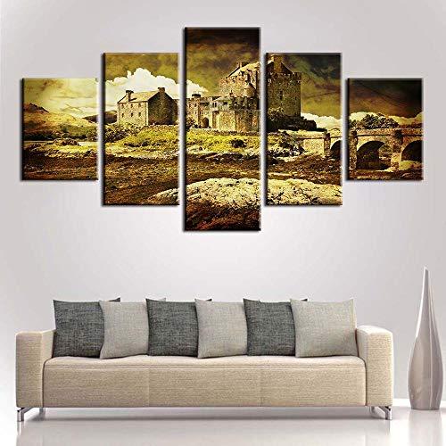 Wuwenw Formato Grande + Impresion En Calidad Fotografica + 5 Partes + Casa En Ruinas + Cuadro + Gran Variedad De Cuadros Y Impresos Artõsticos En Nuestra Tienda Virtual -30X40/60/80Cm,With Frame