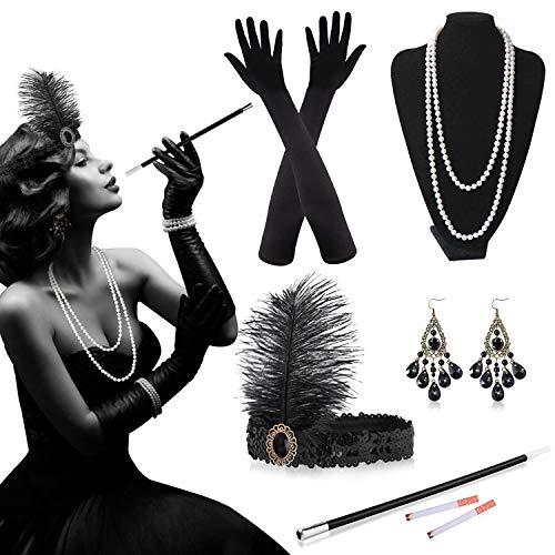 Alintor 20er Jahre Accessoires, 20er Jahre Kleid Accessoires Set, Kostüm Damen Federboa, Charleston Kleid 20er Jahre - Schwarze Stirnband, Karneval Gatsby Accessoires Damen Herren