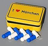 Bayern-Magnet-Set 'I love MÜNCHEN' im Ortsschild-Look, 10 Memo-Tafel-Magnete Neodym (sehr stark) in Fan-Farben, mit Metall-Box!