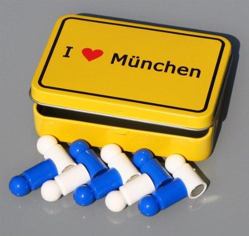 """Bayern-Magnet-Set \""""I love MÃœNCHEN\"""" im Ortsschild-Look, 10 Memo-Tafel-Magnete Neodym (sehr stark) in Fan-Farben, mit Metall-Box!"""